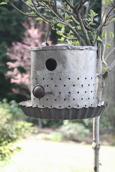 MEET ME IN THE GARDEN <3 Repurposed minnow bucket into a bird house.