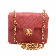 CHANEL Chanel Vintage Red Quilted Leather Mini Shoulder Bag