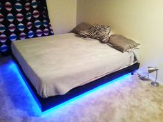 Thank you for the queen size floating bed plans! I had a lot of fun building the bed frame, although it turned out quite heavy. I also added LEDs to the bed frame and I think it looks amazing! Led Bed Frame, Bed Frame Plans, Bed Plans, Bed With Led Lights, Bed Lights, Room Design Bedroom, Diy Bedroom Decor, Bedroom Inspo, Mens Bed Frames