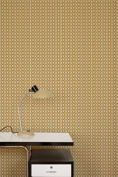Bodoni Wallpaper: No.9 in ochre  Designed by Carrie Van Hise