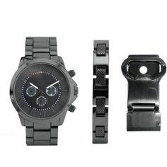 Men's Gunmetal Watch Set with Bracelet and Bottle Opener/Money Clip - Walmart.com