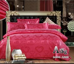 Mariage Jacquard Satin ensembles de literie reine roi luxe 4 pcs soie / coton ensemble de lit de couette / draps de housse de couette kit linge dans Ensemble de literie de Maison & Jardin sur AliExpress.com   Alibaba Group
