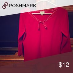 Red Sweater from Ann Taylor Loft This lightweight sweater has three quarter sleeves and white stitching accenting the neckline with a tie in the middle.  64 percent Rayon and 36 percent Nylon. Ann Taylor Loft Sweaters Crew & Scoop Necks