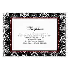Black & White Damask Red Accent Reception Card