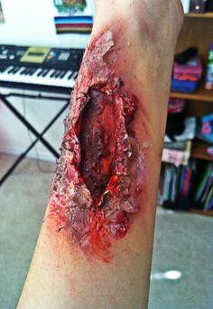 my zombie wound (: #zombie #wound #halloween #zombiewound #bite