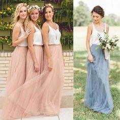 Popular Cheap Junior Off Shoulder Scoop Neck White Blush Pink Tulle Long Bridesmaid Dresses, WG40