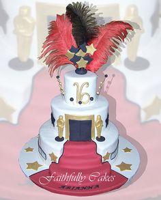 Hollywood theme 16th birthday by FaithfullyCakes, via Flickr