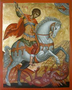 Saint George the Great Martyr of Syria Orthodox Icon Byzantine Icons, Byzantine Art, Religious Icons, Religious Art, Printable Images, Saint George And The Dragon, Art Icon, Orthodox Icons, Angel Art