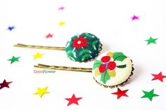 Christmas Holly hair pins  Ugly Sweater Party Hair by chezviolette