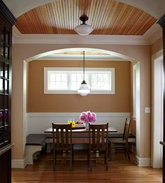 Check out the Before!    Lackluster Breakfast Area After: Cozy Breakfast Nook