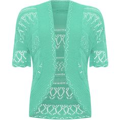 WearAll Plus Size Short Sleeve Crochet Knitted Shrug (48 PEN) ❤ liked on Polyvore featuring tops, mint, summer tops, green plus size tops, plus size tops, short sleeve shrug and crochet summer tops