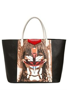 Givenchy Multicolor Coated Canvas Tribal Girl Tote Bag