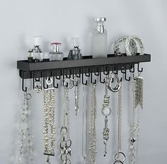 wall jewelry displays  | Wall Mount Long Necklace Rack Holder Hanging Jewelry Organizer Display ...