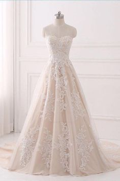 A-Line Wedding Dress #ALineWeddingDress, Appliques Wedding Dress #AppliquesWeddingDress, Prom Dresses 2019 #PromDresses2019, Long Prom Dresses #LongPromDresses