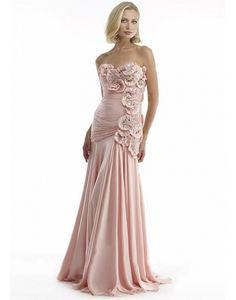 Chiffon A-Line Strapless Neckline Full Length Mother of the Bride Dress With Handmade Flowers