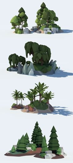 Low Poly Tree Pack. Unity 3D Game Asset. Contains 38 stylized low poly trees as .dae (Collada) mesh files and ready-to-use prefabs.Tree types: - simple spruces - wrinkled spruces - round broad-leaved trees - sharp broad-leaved trees - birchtrees - weeping willows - palmtrees - 6 special trees