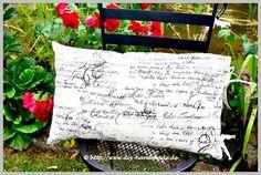 """Dekoratives Kissen, Kissenbezug 65x40cm, 25.6x15.7"""", Kissenhülle mit Schriftzeichen, Kissenüberzug mit Bändern,"""