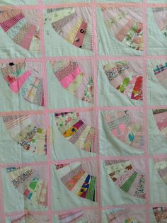 Vintage Handmade Quilt Top Pink White Square Patches by ReEmporium