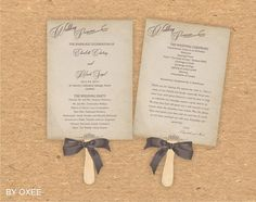 Printable Wedding ceremony fan program template Vintage by Oxee
