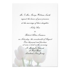 White Tulips Wedding Invitations