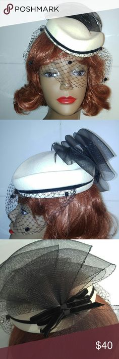 Vintage Wool Fascinator with Veil Bow Feathers Vintage Wool Fascinator with Veil & Bow Off White with Black Details This darling has lots of character. Wonderful condition! Label: Sonni San Francisco. Simply Adorable💫 Vintage Accessories Hats