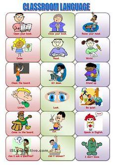 classroom language - ESL worksheets