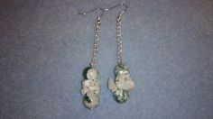 Green and white quartz with rainbow moonstone chips earrings with silver plated chain www.facebook.com/KimsGlitteringGems