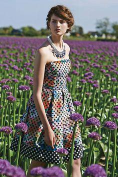 Anthropologie Polka Dot Floral Strapless Lavendel Dress