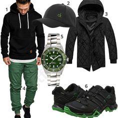 Lässiger Herren-Style in Grün und Schwarz (m0886) #automatikuhr #sneaker #hoody #cap #calvinklein #outfit #style #herrenmode #männermode #fashion #menswear #herren #männer #mode #menstyle #mensfashion #menswear #inspiration #cloth #ootd #herrenoutfit #männeroutfit