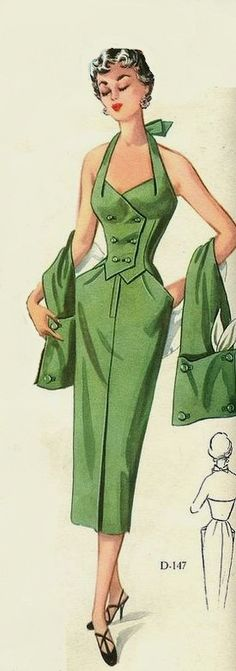 1950s dress green halter shift wiggle cocktail double breasted button front wasp waist matching wrap color illustration print ad vintage fashion style