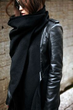 scarf & leather #style #fashion
