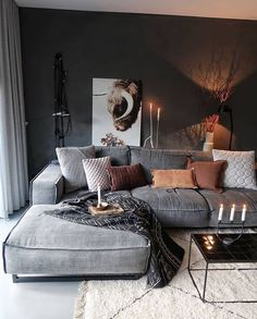 Cozy home decor, living room decoration ideas, modern interior design, modern home decor for home living room modern Great Decorating ideas for Living Room Good Living Room Colors, Cozy Living Rooms, Apartment Living, Ideas For Living Room, Charcoal Sofa Living Room, Living Room Decor Grey Sofa, Luxury Living Rooms, Gray Home Decor, Dark Grey Walls Living Room