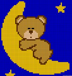 Moon teddybear perler bead pattern