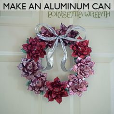 An aluminum can poinsettia wreath!!!