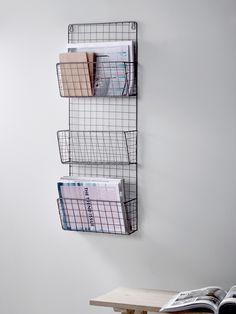 Wall Shelves & Hooks, Small Metal & Wooden Kitchen Shelves with Hooks UK Wire Magazine Rack Room Ideas Bedroom, Bedroom Decor, Wooden Shelves Kitchen, Minimalist Desk, Cute Room Decor, Decoration Inspiration, Aesthetic Room Decor, Wall Racks, My New Room