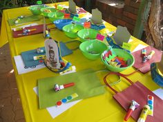Mr Maker party - simple set up the party table with craft - see the whole party at www.celebratesa.com.au