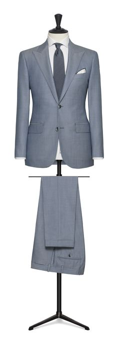 light blue made to measure suit Fashion Suits, Male Fashion, Made To Measure Suits, Light Blue, Blazer, Business, Check, Jackets, Travel