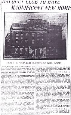 Picture of the Philadelphia Racquet Club, 16th and Walnut Streets.  From The Philadelphia Press; Wednesday, September 20th, 1905, Page 8.