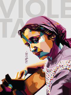 Violeta Parra, cantautora, pintora, escultora, bordadora y ceramista chilena, considerada una de las principales folcloristas de América. Ilustración, vector, Chile.- Mosaic Art Projects, Chile, Revolution, Pop Art, Poses, Stickers, Movie Posters, Inspiring Women, Logo