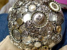Make The Best of Things: Silver Button Blingy Decor Ball crafts Diy Buttons, Silver Buttons, Metal Buttons, Vintage Buttons, Button Art, Button Crafts, Bowling Ball Art, 925 Silver Earrings, Silver Ring