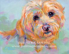 Painted pet portrait by Kimberly Kelly Santini of Painting a Dog a Day