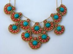 Pink Coral and Magnesite Statement Necklace by ShegoAndHen on Etsy