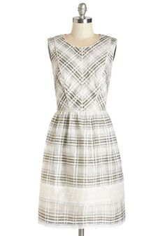 Natural Networker Dress - Plaid, Daytime Party, A-line, Sleeveless, Better, Tan / Cream, Black, Woven, Full-Size Run