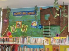Books are Magic! Kids display for the Magic Tree House series. Classroom Design, Future Classroom, School Classroom, Classroom Themes, Classroom Organization, Forest Classroom, Magic Theme, Tree Stencil, Library Bulletin Boards