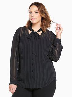 Shadow Stripe Tie Neck Blouse, DEEP BLACK