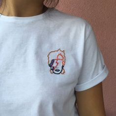 David Bowie tee hand embroidered tshirt by MadeByBonBon on Etsy