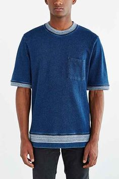 ALTERNATIVE Indigo Pima Short-Sleeve Sweatshirt