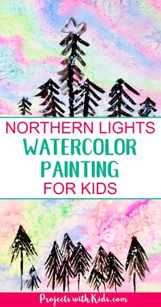 Northern Lights Watercolor Painting for Kids - - Create a beautiful northern lights watercolor painting using easy watercolor techniques that kids will love experimenting and having fun with! Painting Activities, Art Activities For Kids, Preschool Art, Art For Kids, Winter Activities, Easy Painting For Kids, Preschool Winter, Watercolor Projects, Easy Watercolor