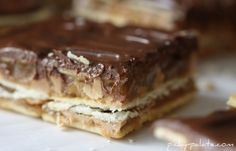 Chocolate, Peanut Butter and Caramel Club Bars - Picky Palate