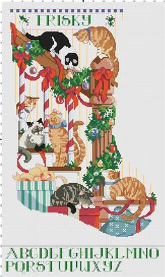 Curious Cats Counted Cross Stitch Stocking